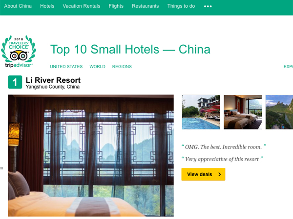 Best Small Hotel in China - Li River Resort